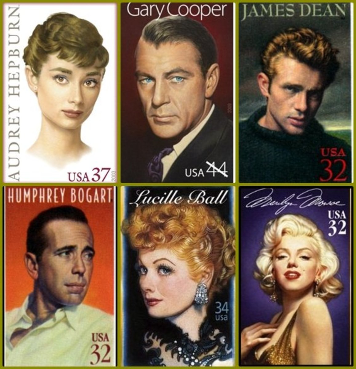 The US Postal Service:Legends of Hollywood Stamp Series