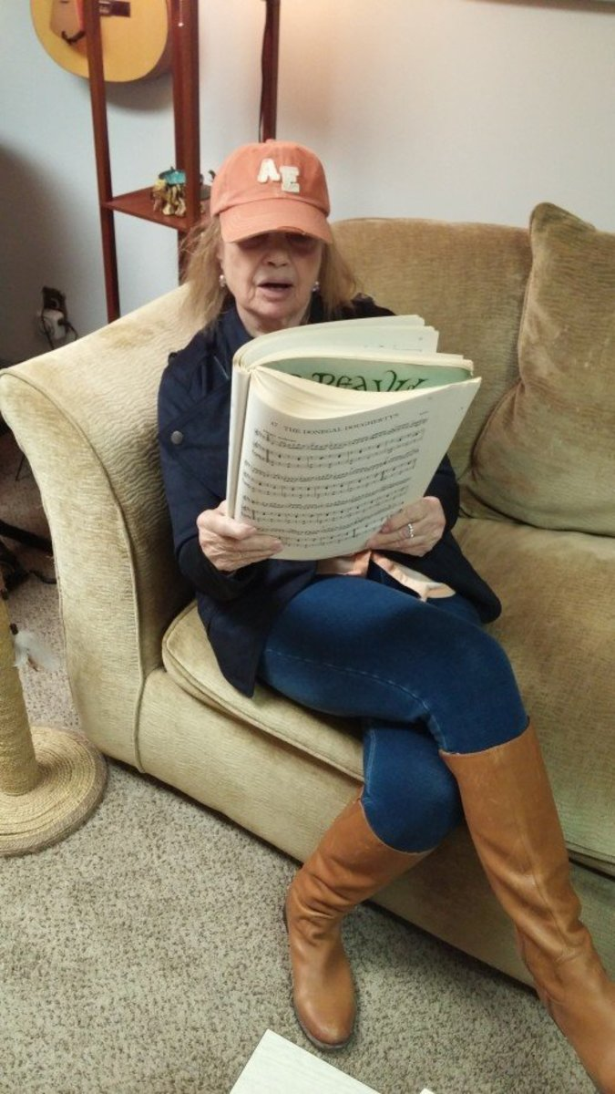 Author and Vocal Coach, Audrey Hunt, selecting the right songs for vocalists.