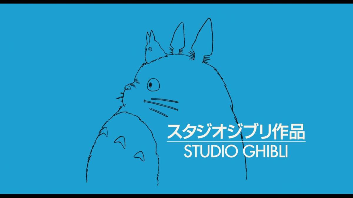 Studio Ghibli is best known for its anime feature films. In this logo, the famous character of Totoro is included [screencap]