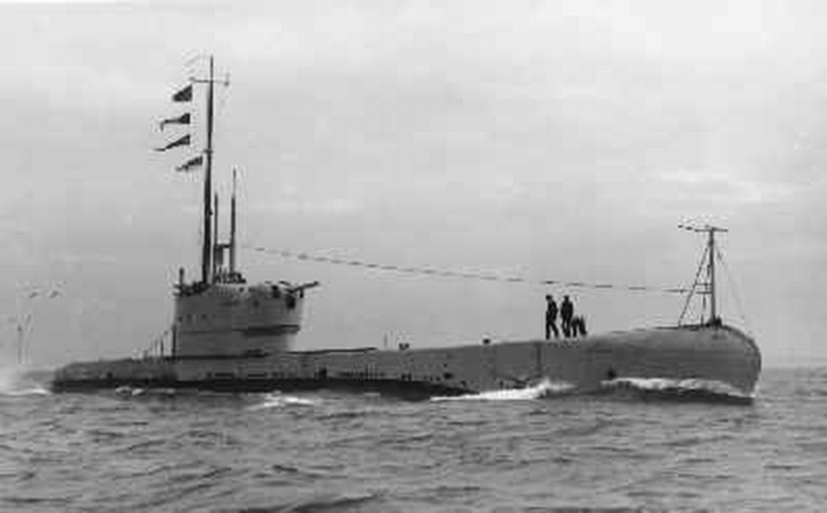 Image of the submarine HMS Perseus (1500 tons, 260 ft long) circa 1930s