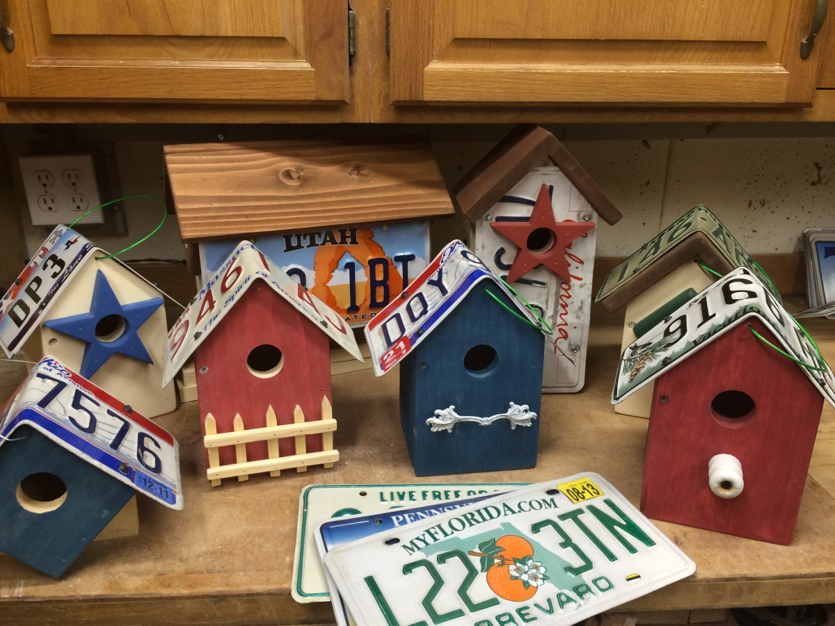 License Plate Birdhouses