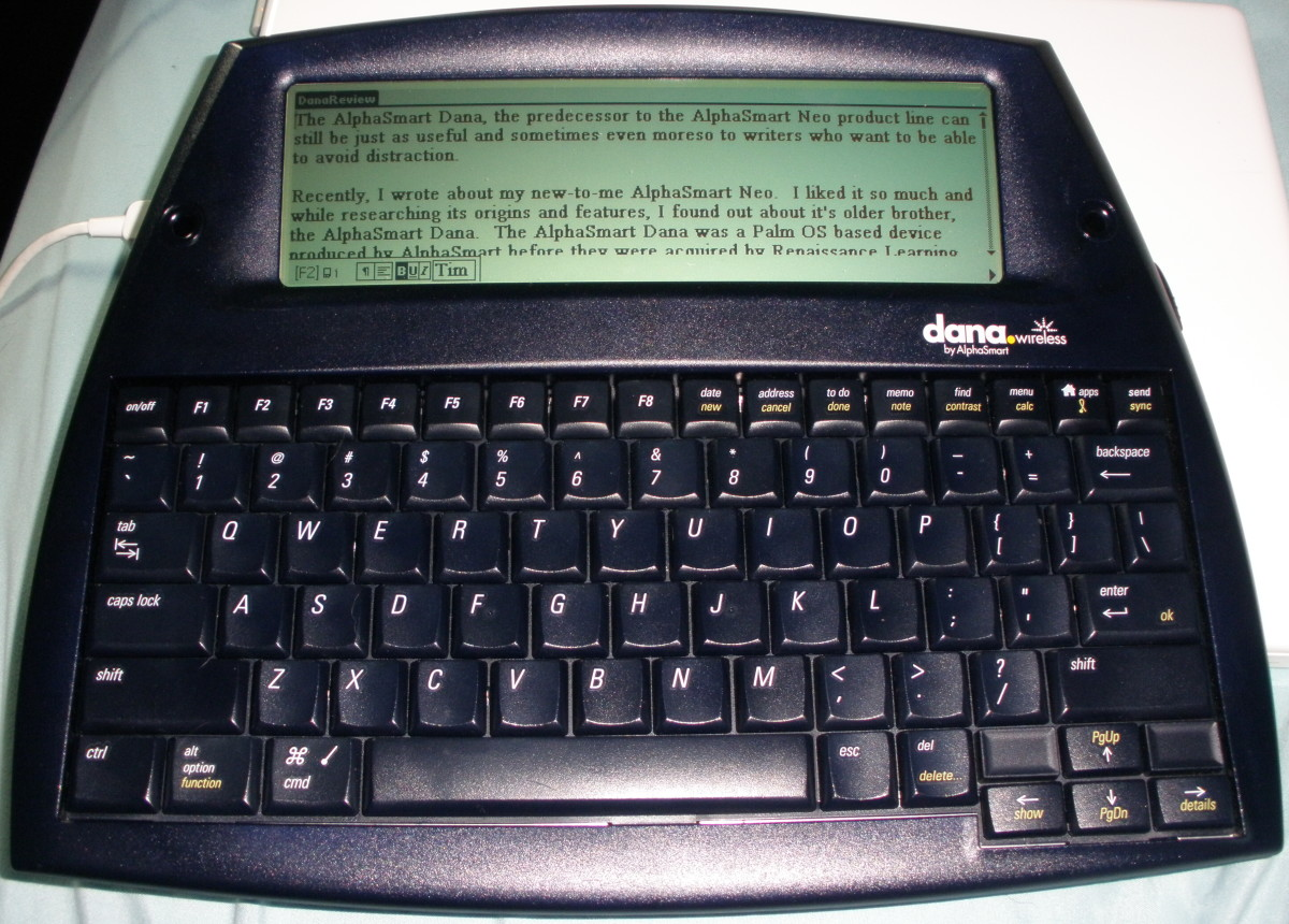 My AlphaSmart Dana Wireless that I acquired after I fell in love with my Neo2.  It has a larger screen plus a backlight to make it easier to work with at night, and offers minimal distractions.