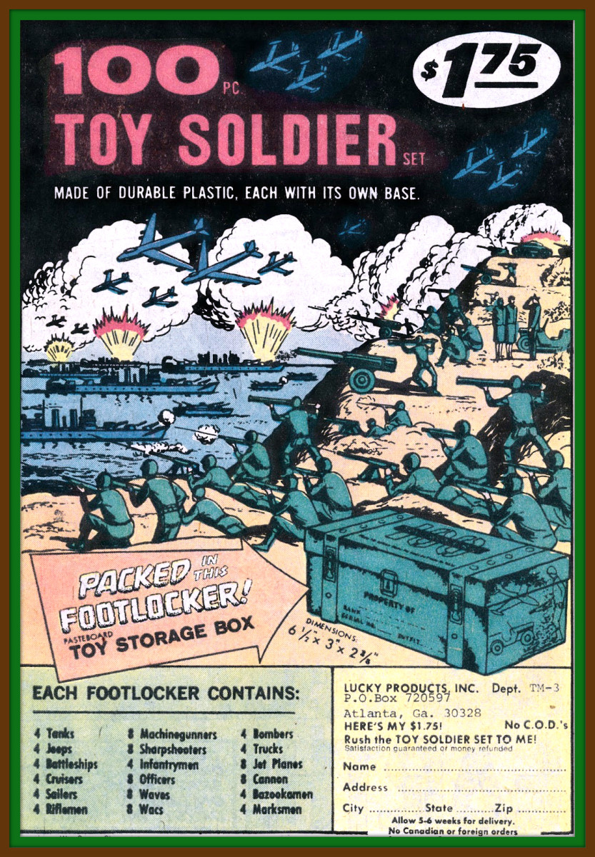 "The 100 Piece Toy Soldier Set with Toy Storage Footlocker, Lucky Products, Inc.This set included tanks, trucks, and jeeps and was remarkable for including female figures, both wacs and waves. Pieces are stamped ""Made in Hong Kong""."