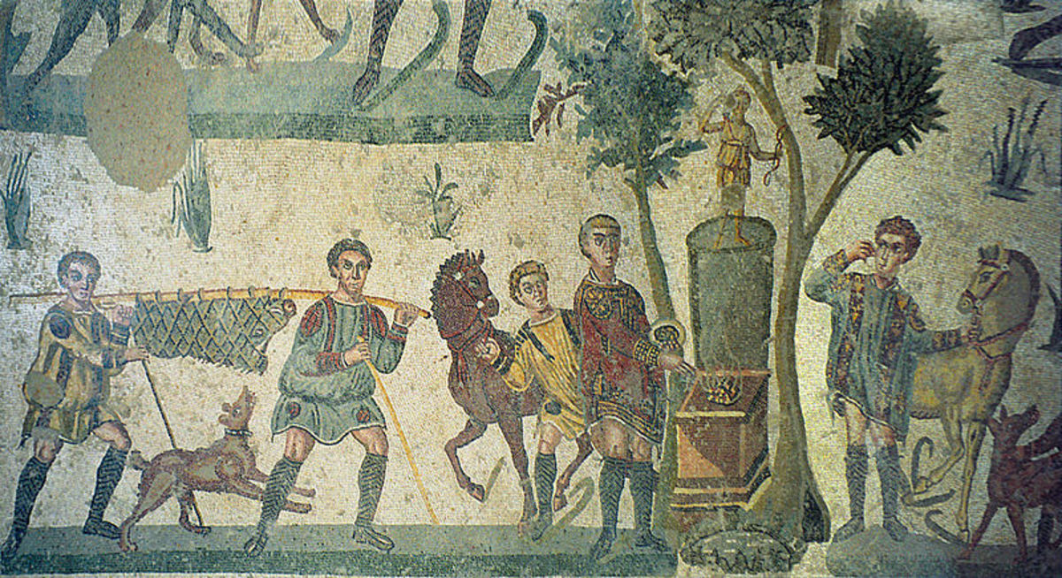 Roman mosaic depicting preparations for the banquet