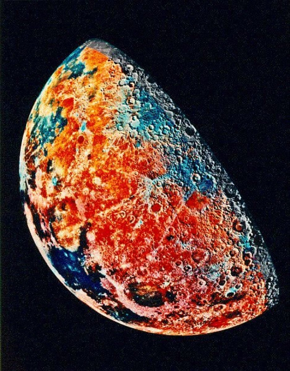 False color image of the moon by Clementine.