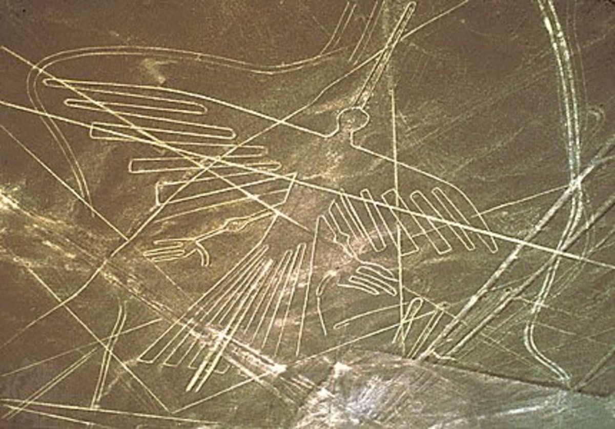 A condor geoglyph created by the Nazca people.