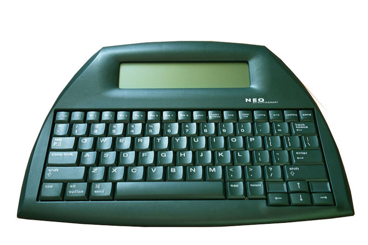 The AlphaSmart Neo, one of the models that were produced by Renaissance Learning after acquiring AlphaSmart.