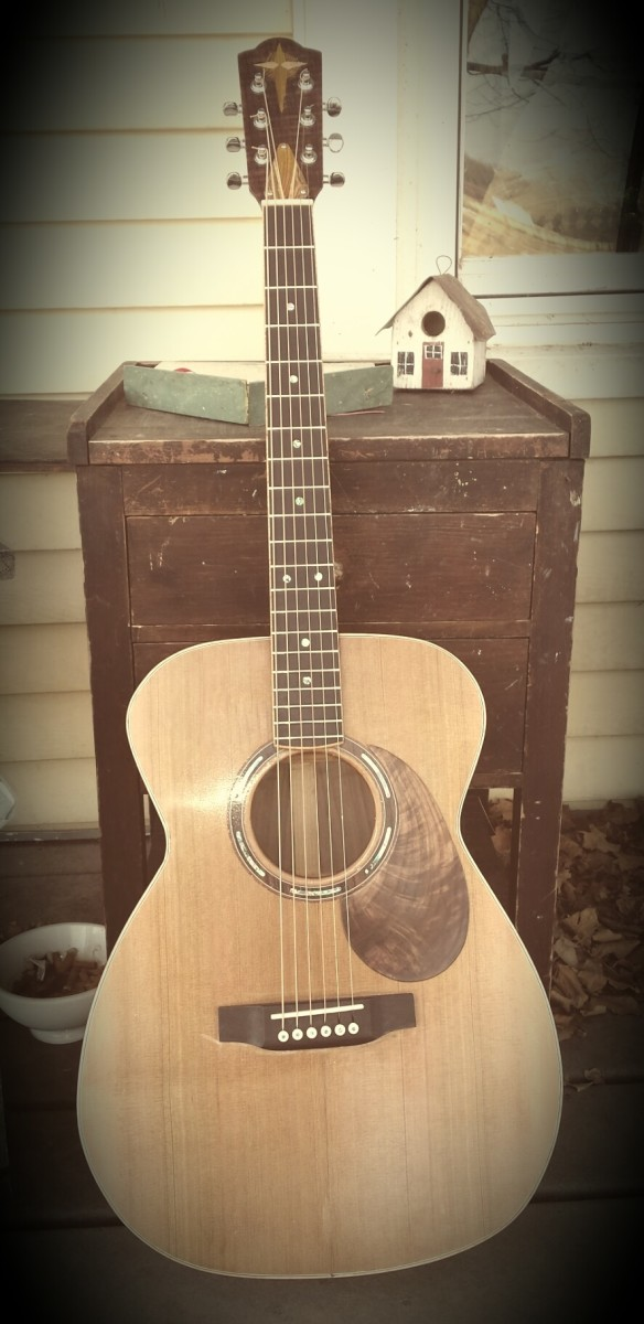 My completed first homemade acoustic guitar.