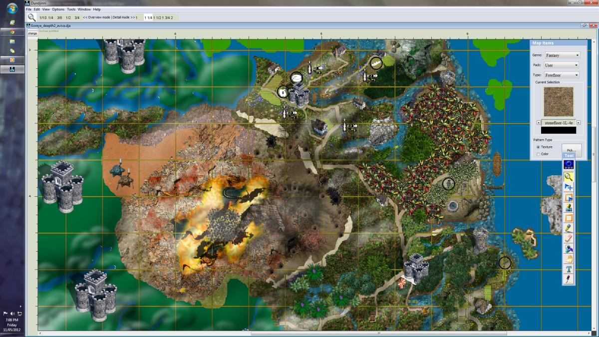 Screen shot of Fantasy Map Making Software, Dundjinni; a map in creation.