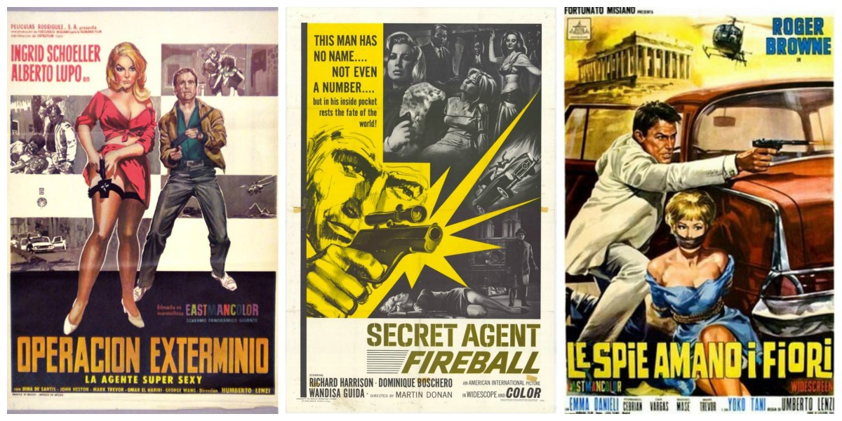 "Posters for ""008: Operation Exterminate"" (1965), ""Secret Agent Fireball"" (1965) and ""The Spy Who Loved Flowers"" (1966)"