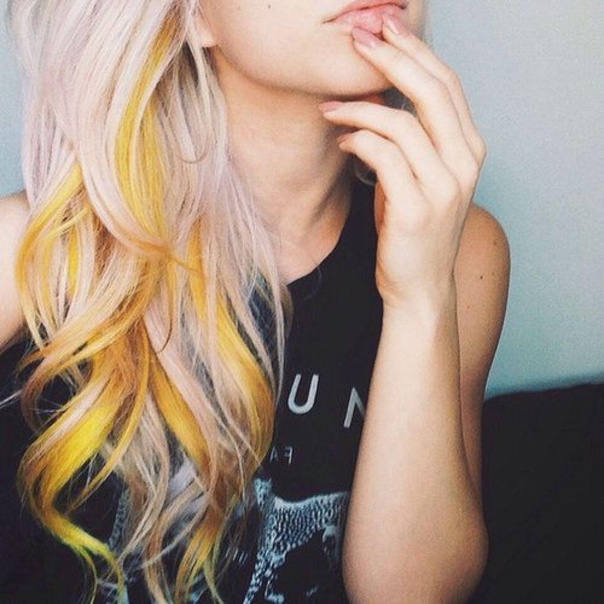 Diy hair 15 orange and yellow hair color ideas bellatory 1 sparks sunburst yellow solutioingenieria Choice Image
