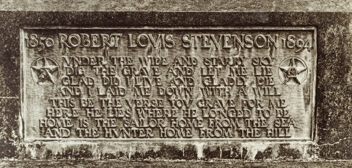 The tombstone atop Stevenson's mountain grave bears as an epitaph his poem 'Requiem.'  Chronicle / Alamy