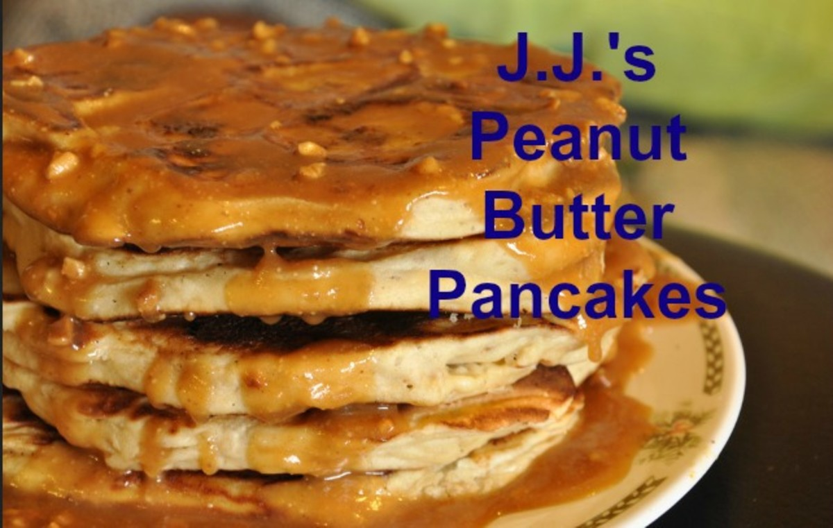 Peanut butter pancakes are a good source of protein and fiber.
