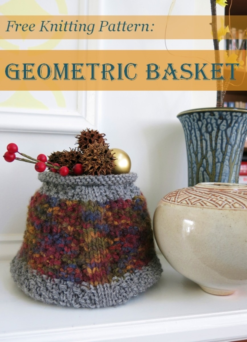 Free Knitting Pattern Geometric Basket Feltmagnet