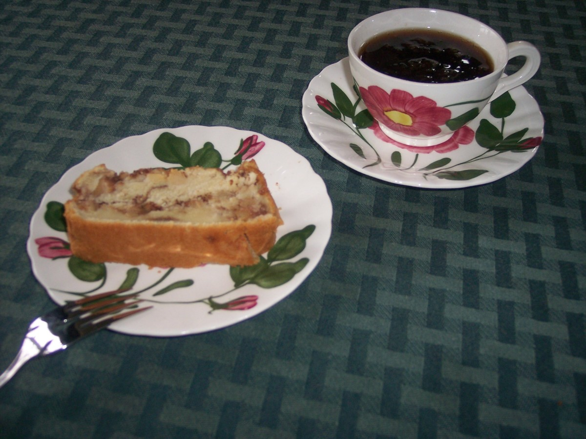 Apple Bread Served on Vintage Blue Ridge Pottery Dishes