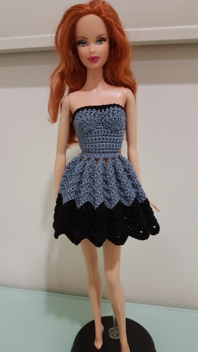 Barbie Strapless Chevron Dress Free Crochet Pattern Feltmagnet