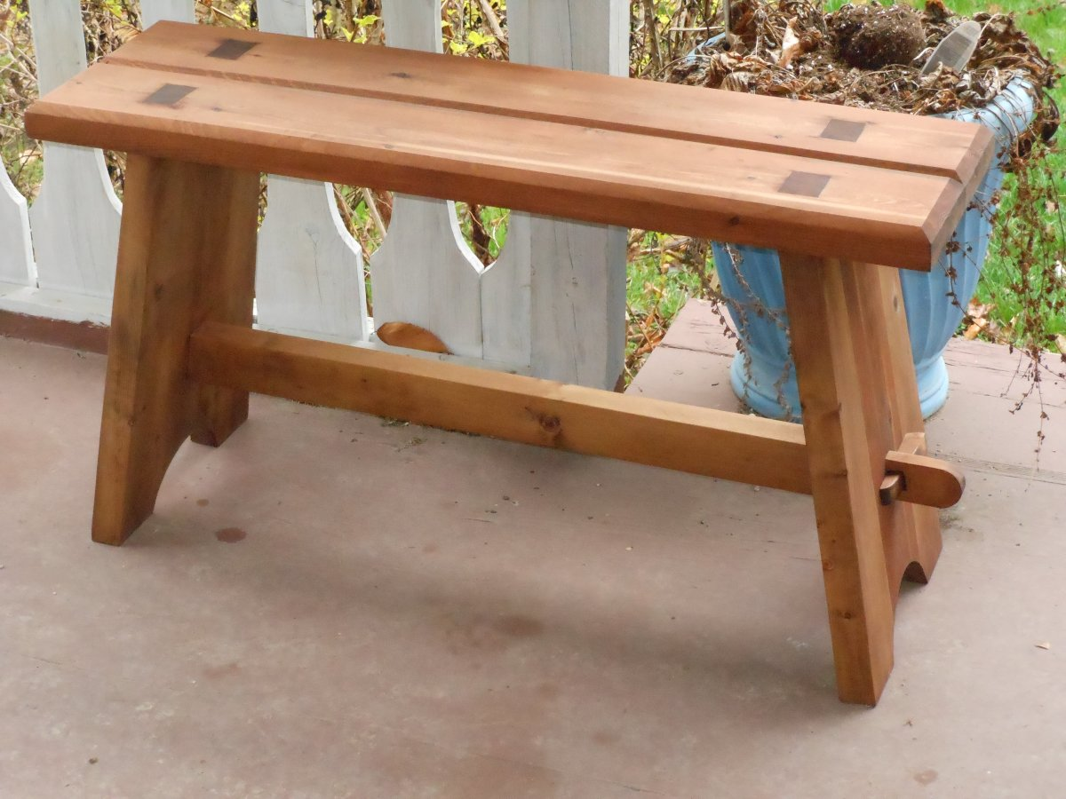 This bench can serve many functions. The joinery on this bench actually tightens when it is used.