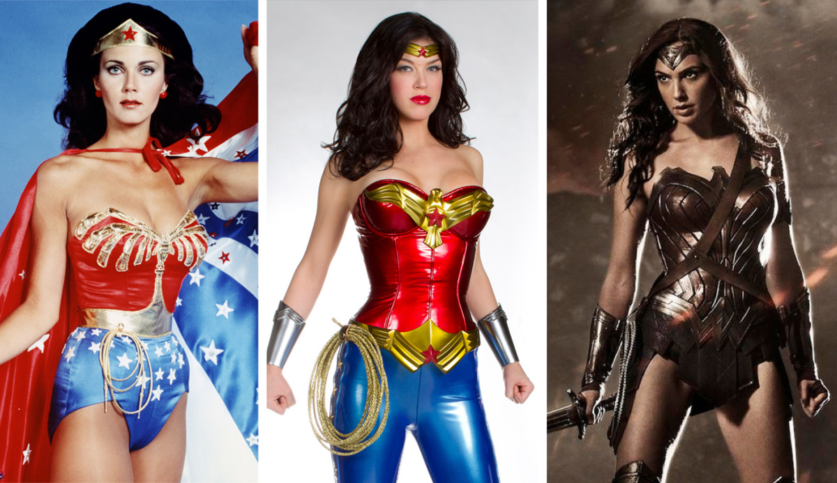 Lynda Carter 1975 (left), Adrianne Palicki 2011 (center), Gal Godot 2017 (right). Wonder Woman is the property of DC Entertainment. All rights reserved.
