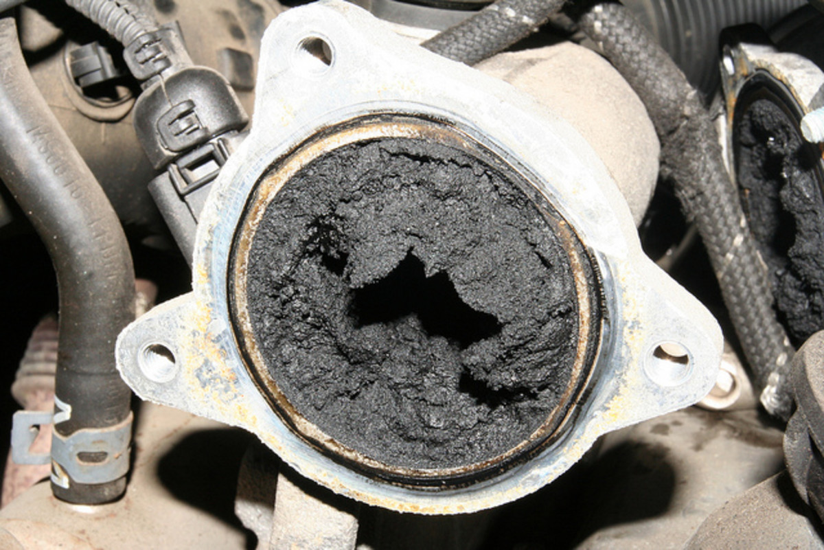 EGR valve with carbon buildup.