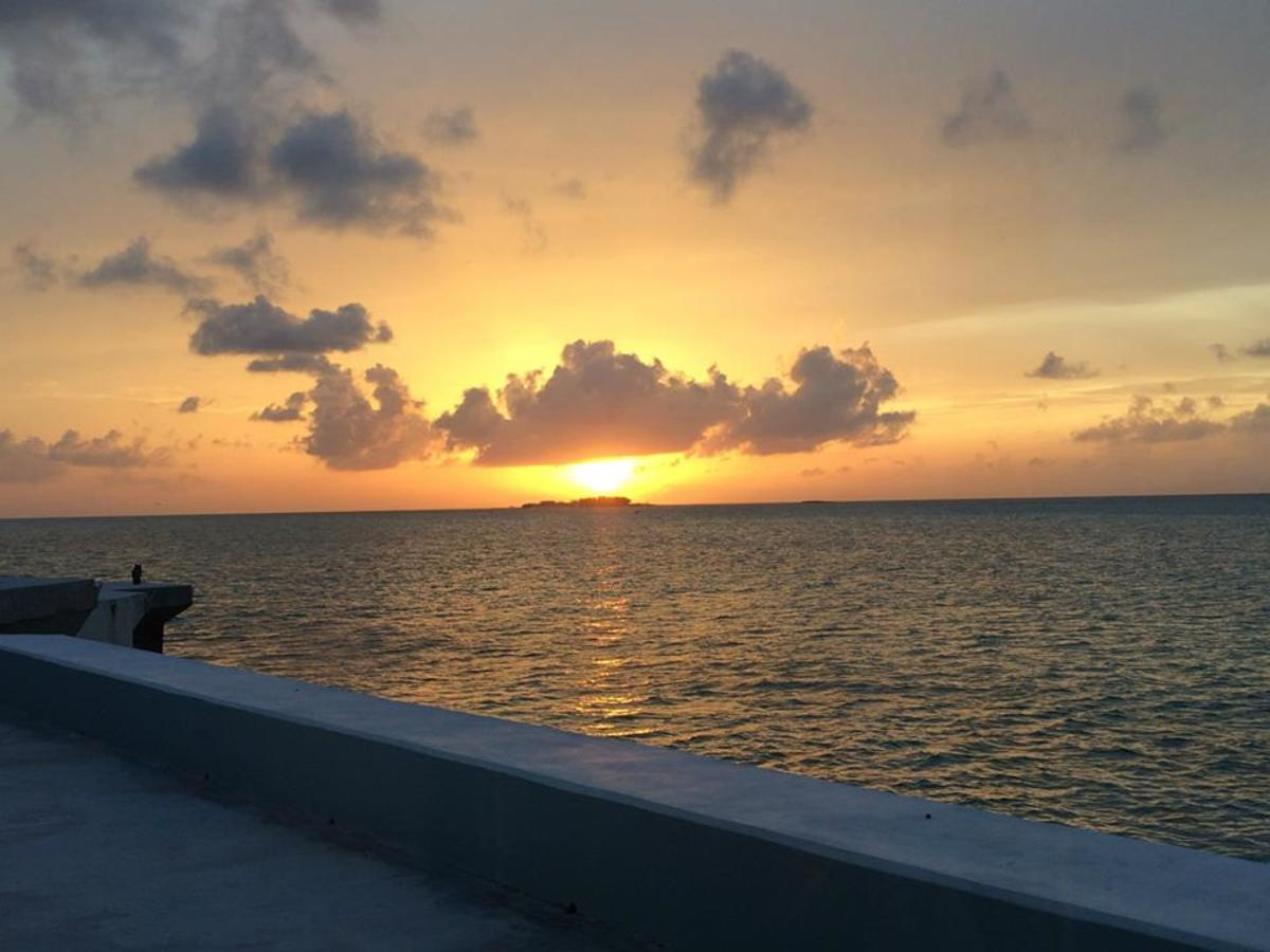 Sunset over the water in Nassau