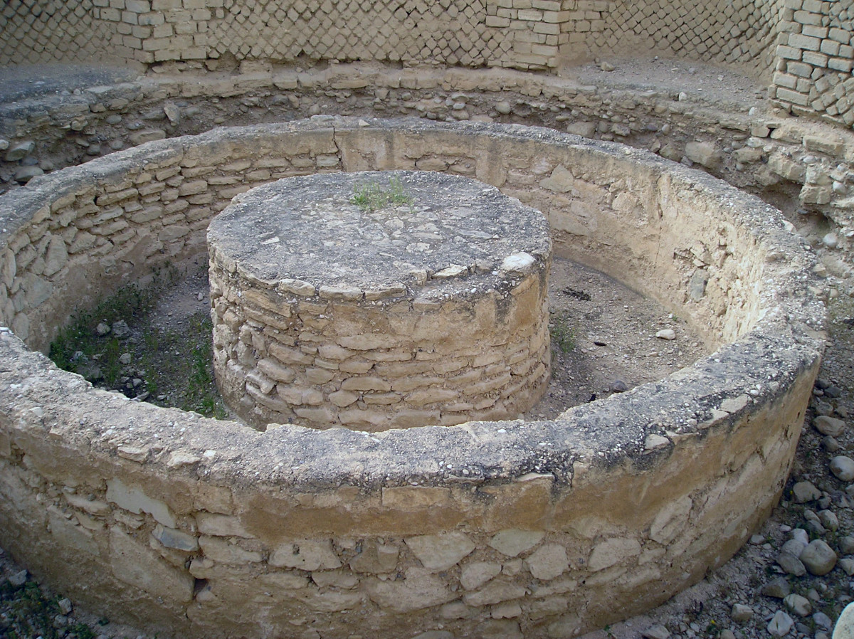The remains of Herod's Palace in Jericho. The building is made of a combination of ancient mud bricks and stone.