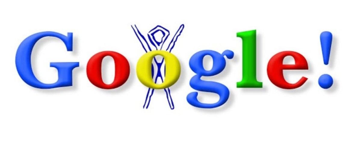 The first ever Google Doodle, 30th August 1998, celebrates the Burning Man Festival.