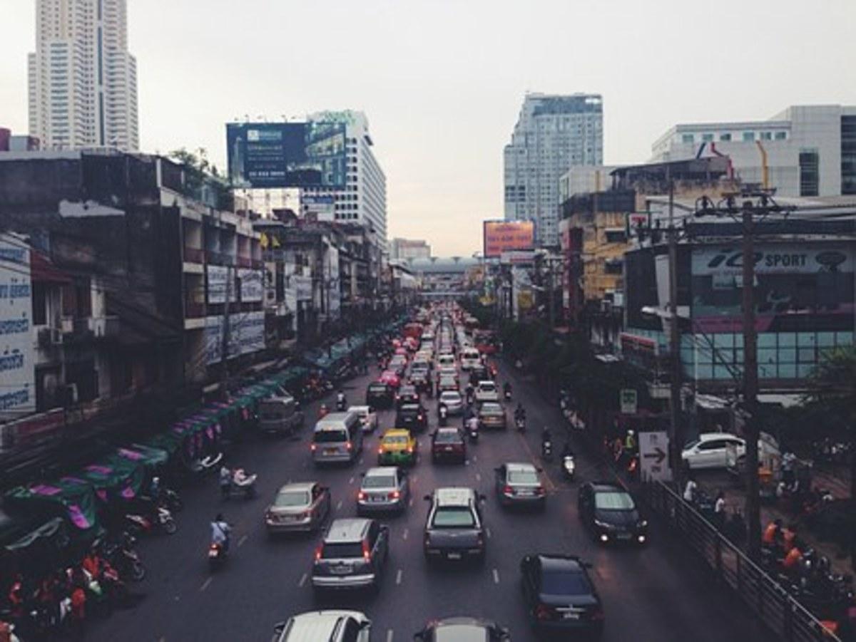 A Thailand city traffic jam.