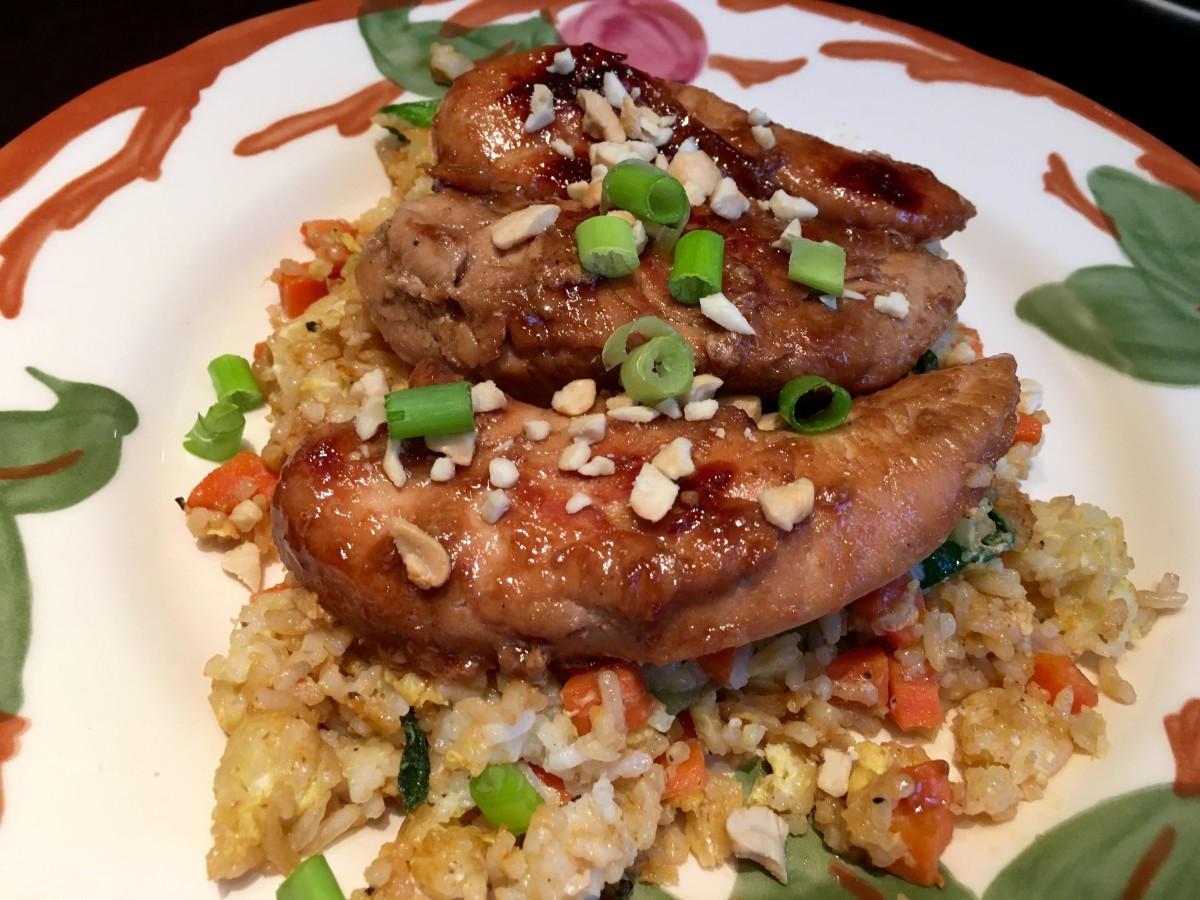 Ginger Fried Rice With Bok Choy and Bulgogi Style Chicken