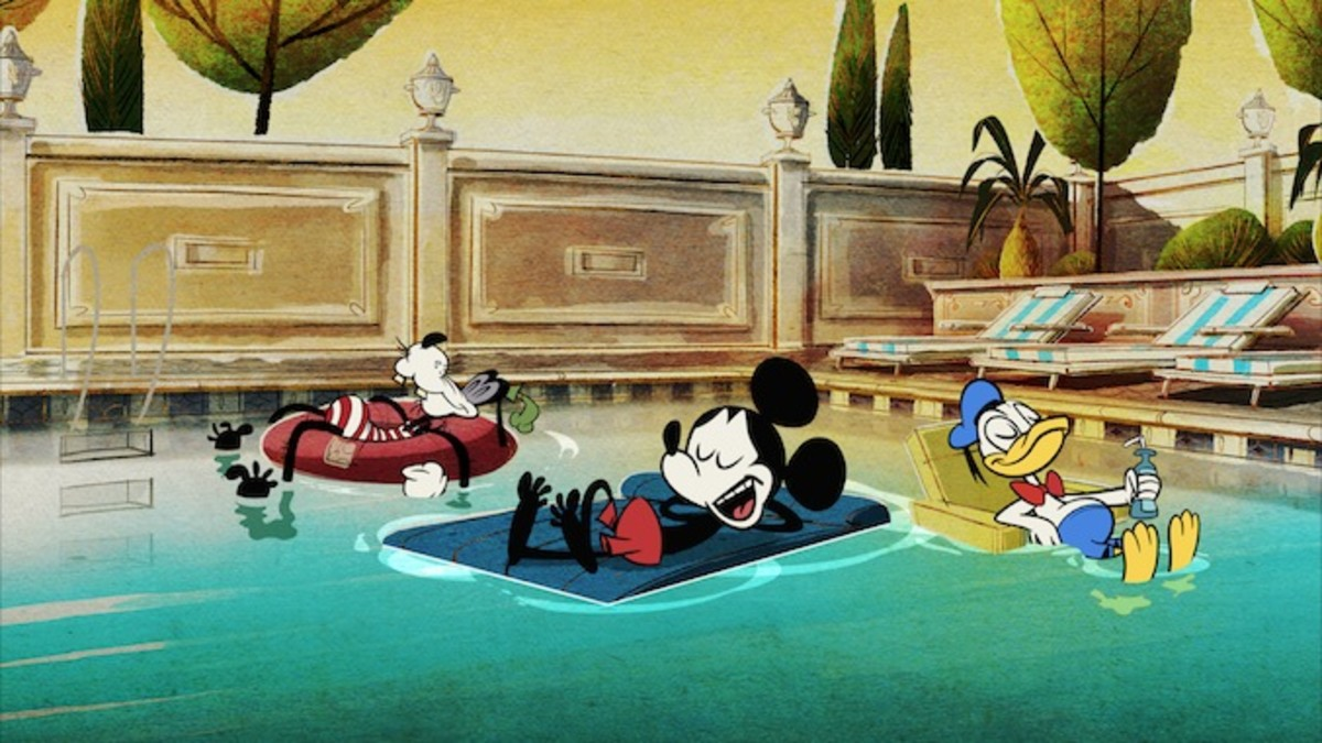 Mickey, Donald, and Goofy relaxing in Stayin' Cool. This scene does not last long.