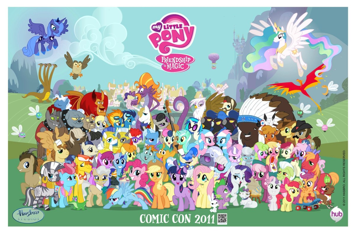 A group shot of Earth Ponies, Unicorns, Pegasi, and Alicorns from the first season of My Little Pony: Friendship is Magic. And some other creatures.