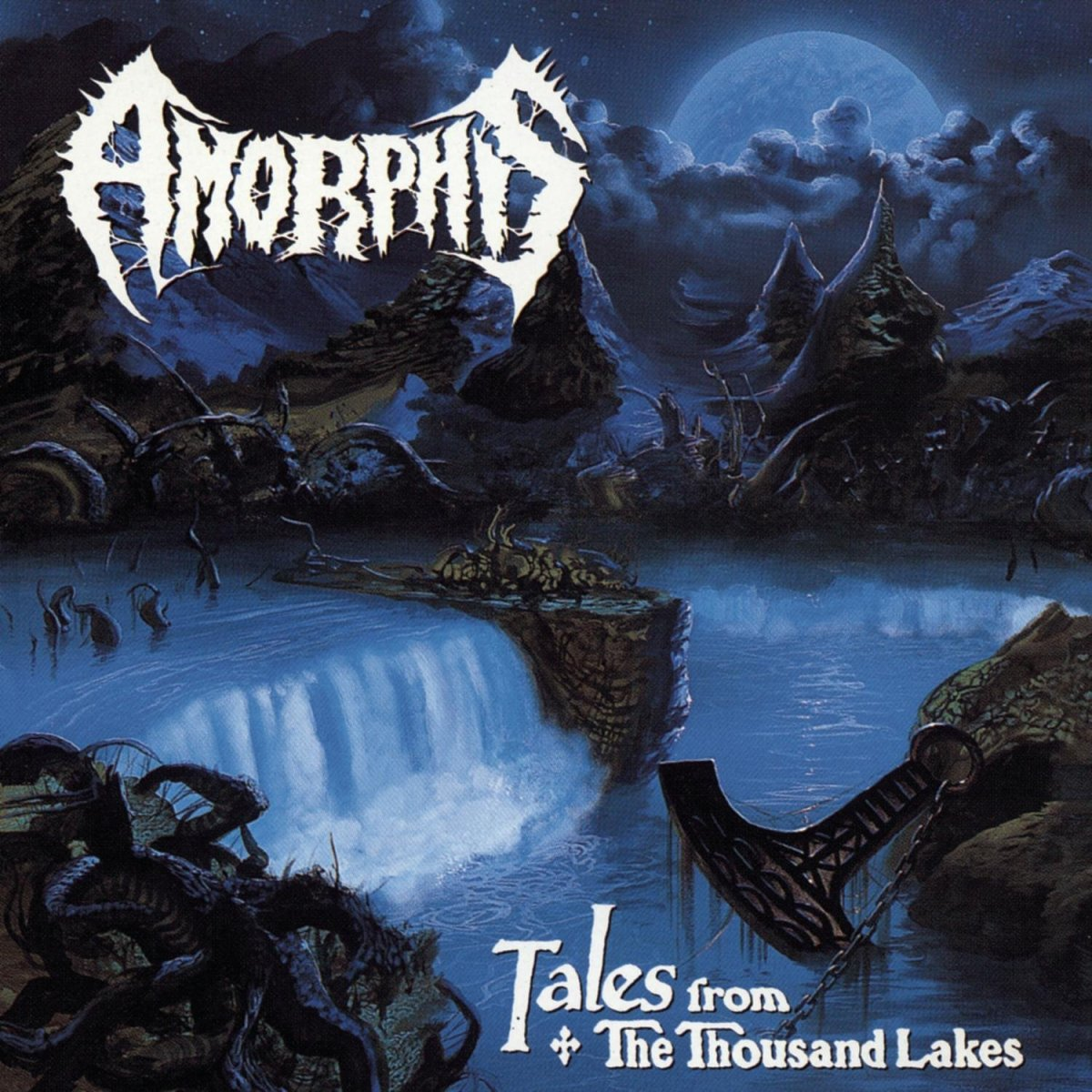 The album cover shows us an example of a beautiful waterfall as the water goes into a river. The moon can be seen in the photo as well and it is just ahead of those trees.
