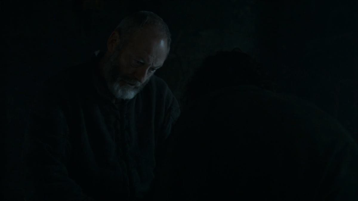Davos is confused with Jon...look, I'm confused too after that butt shot.