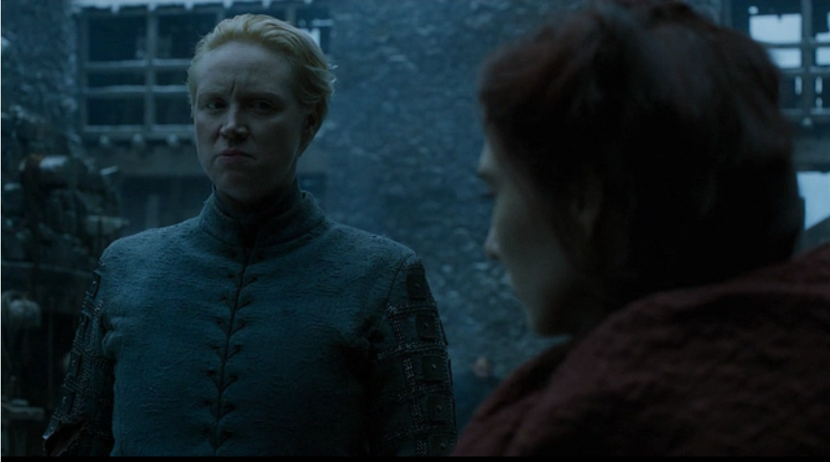 Brienne confronts Melisandre and Davos with an icy glare.