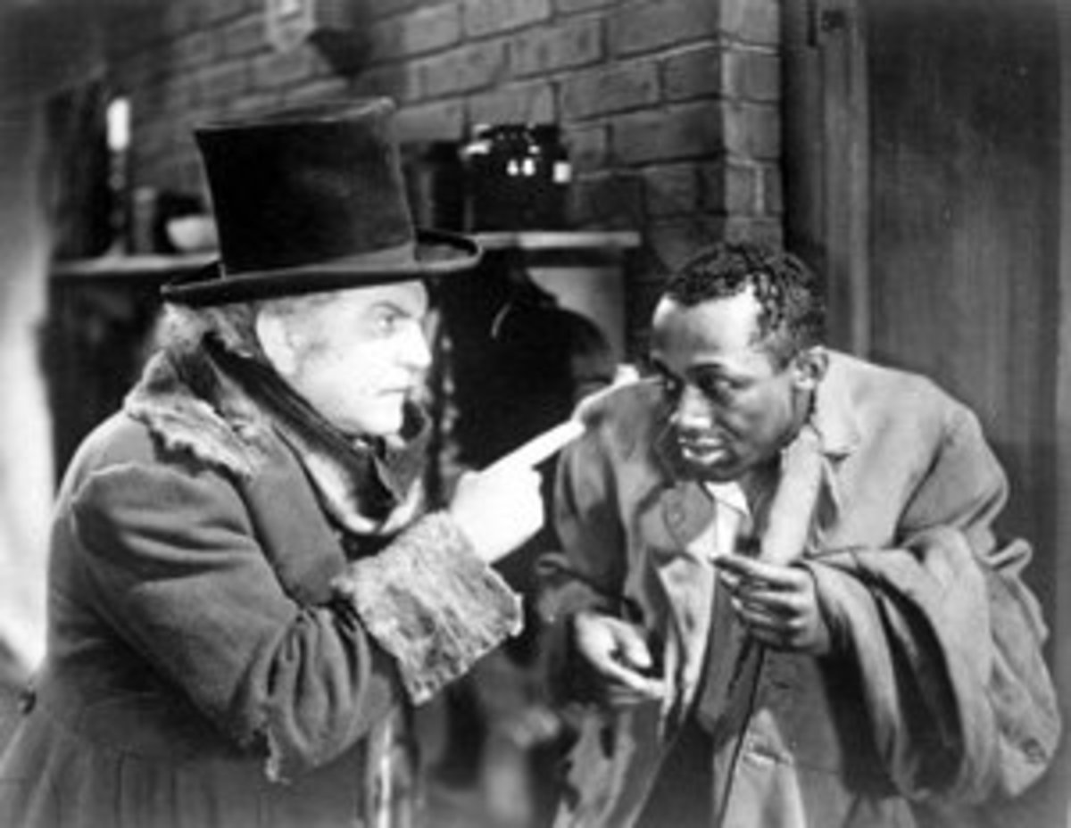 An all too familiar pose. Stepin Fetchit with Frank Morgan in Dimples (1936)