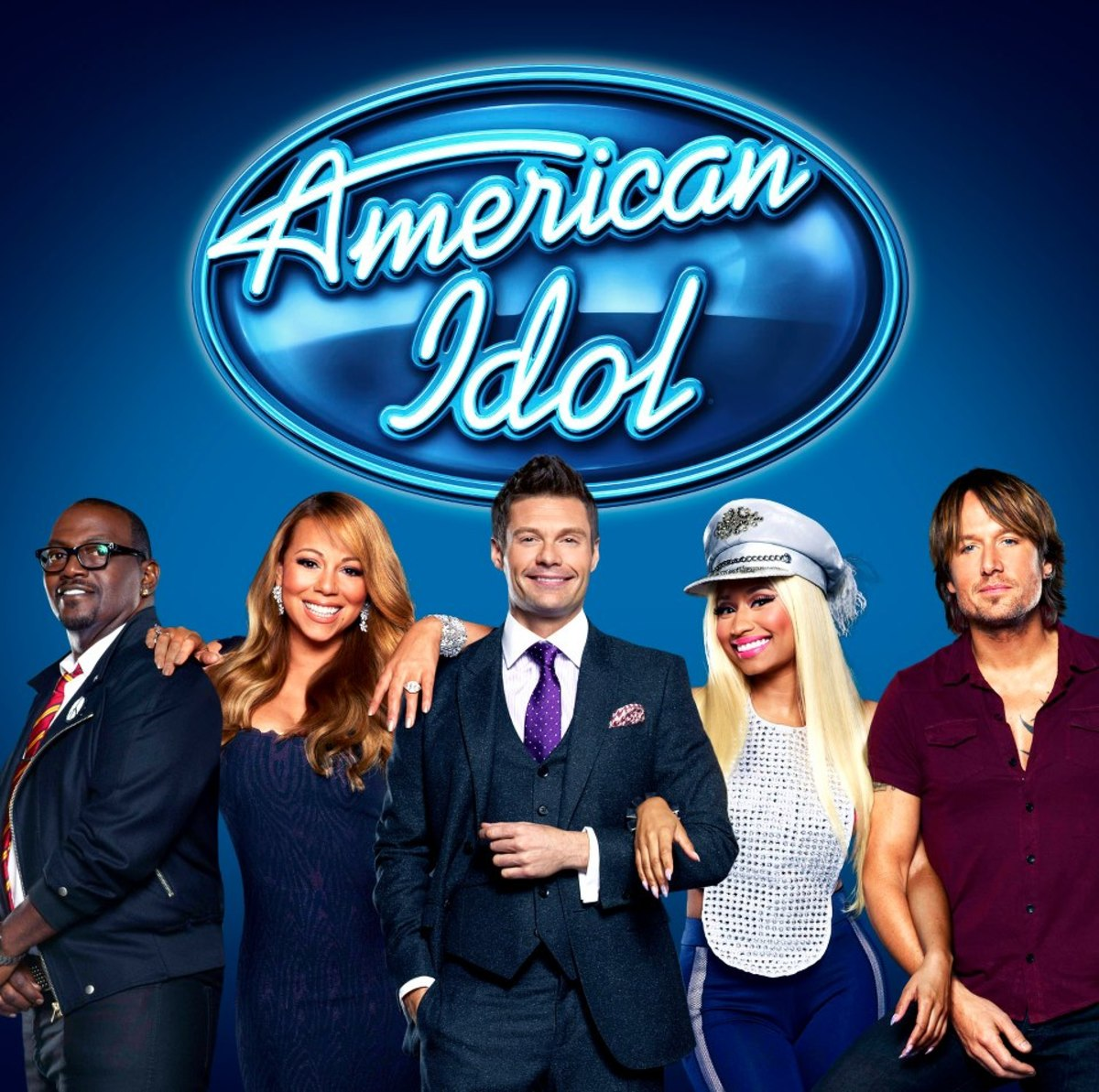 Judges: Randy Jackson, Mariah Carey, Nikki Minaj, & Keith Urban pose with host, Ryan Seacrest for Season 12 of American Idol