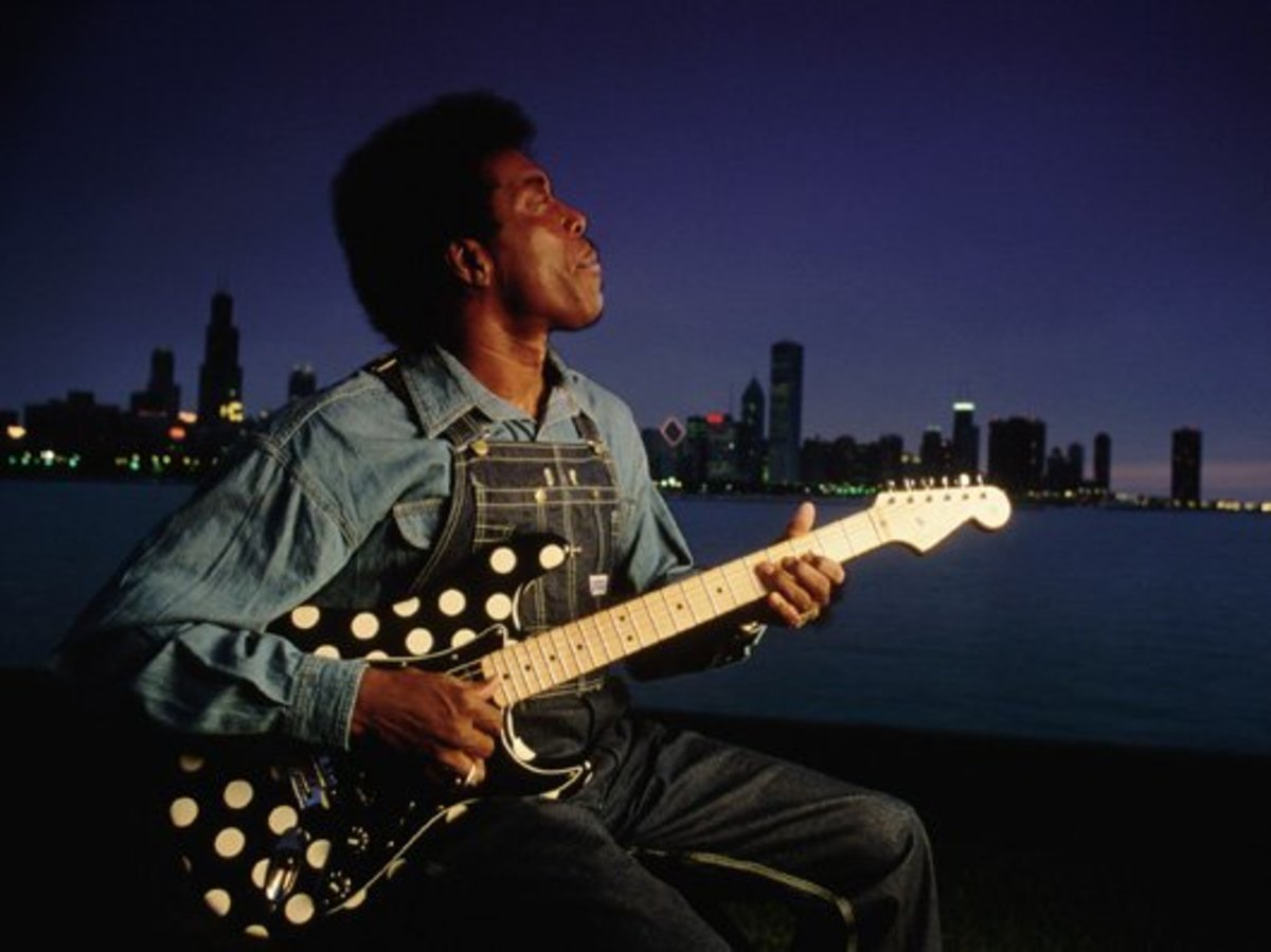 Probably 80's era Buddy Guy..with his signature polka dot Fender Stratocaster