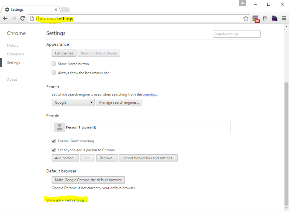 Chrome's Settings Page