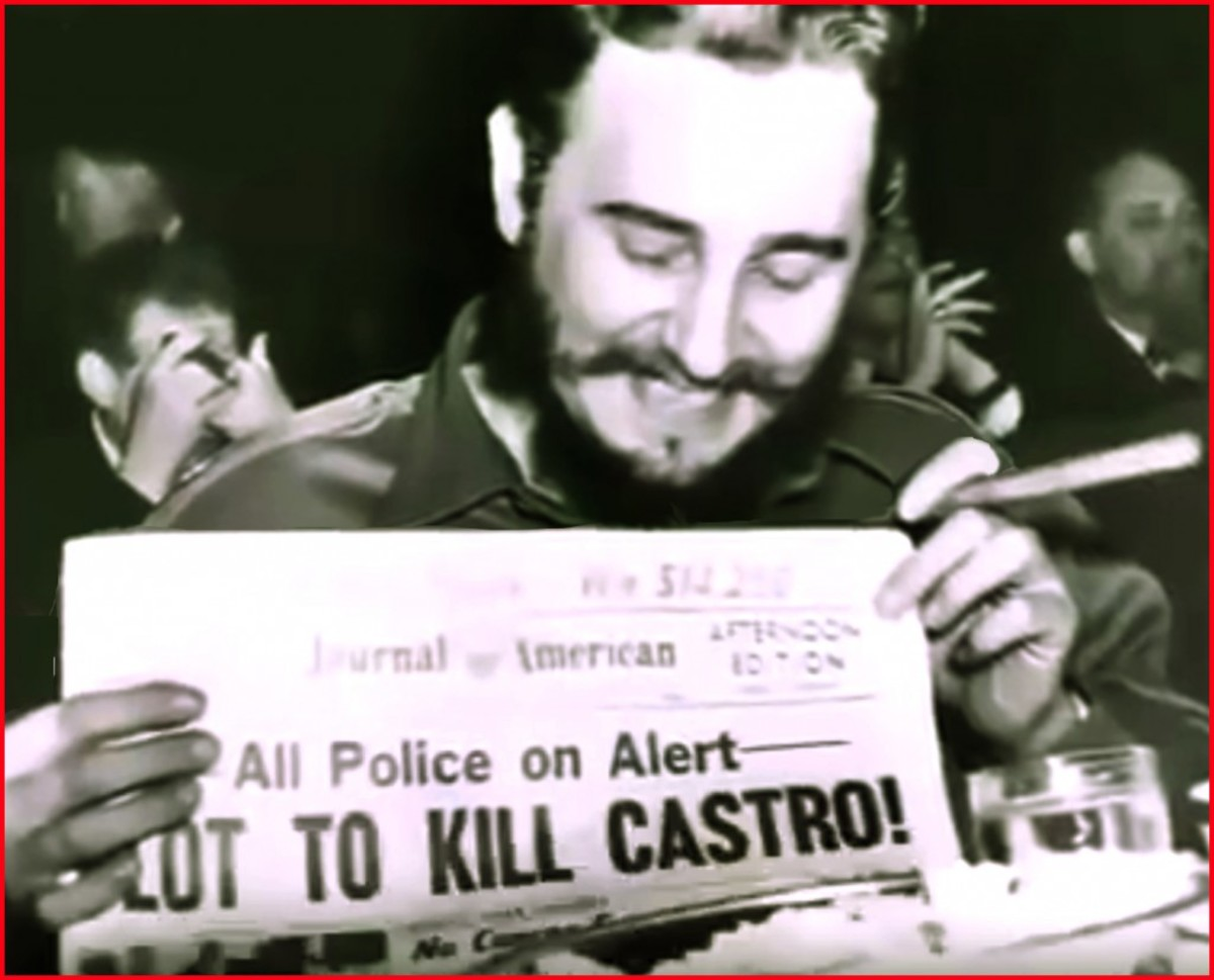 Four months after overthrowing Cuba's dictator Fulgencio Batista, Fidel Castro visited the United States in April 1959.  Thousands of people lined the streets to welcome him, but there were others who wanted him dead.