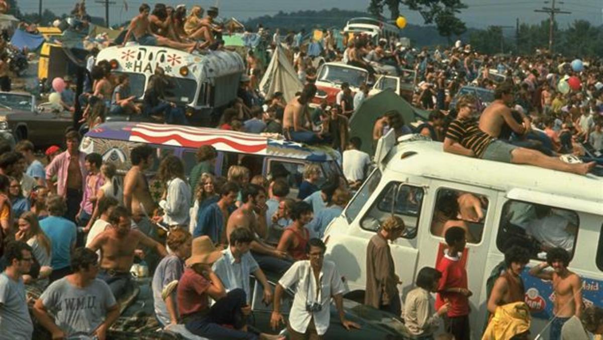 Festival goers at Woodstock in 1969
