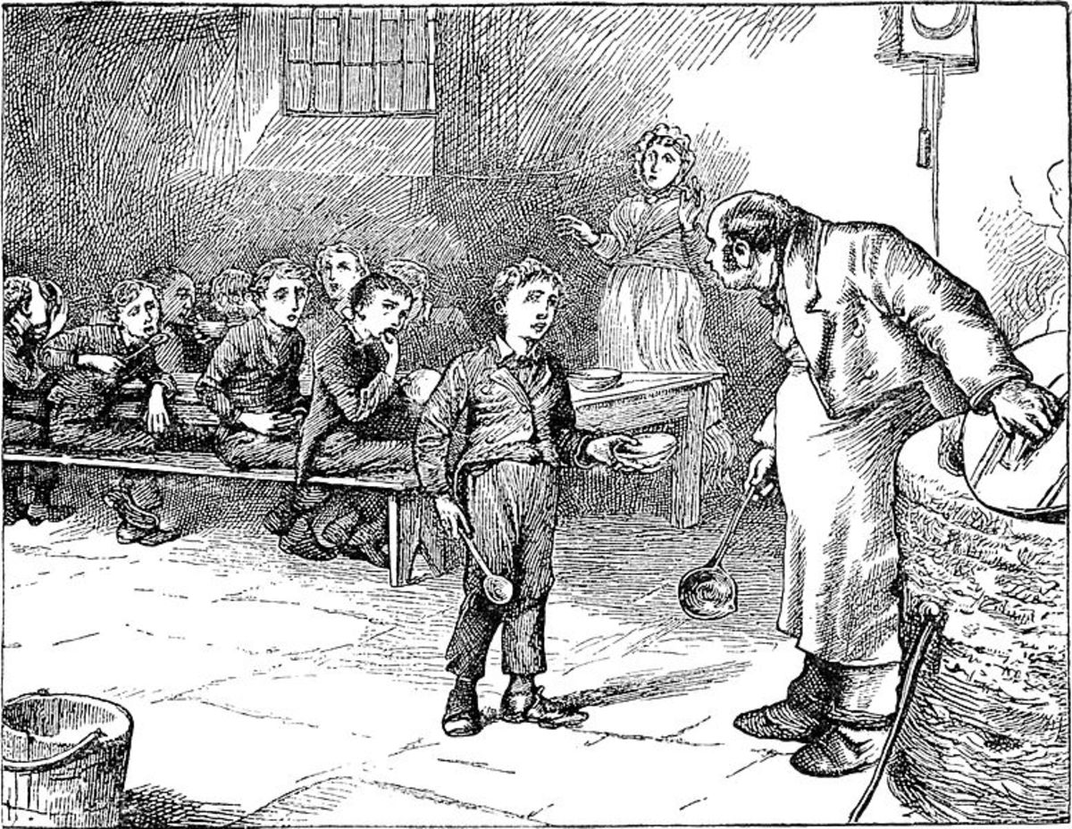 Oliver Twist asks the workhouse master for more.