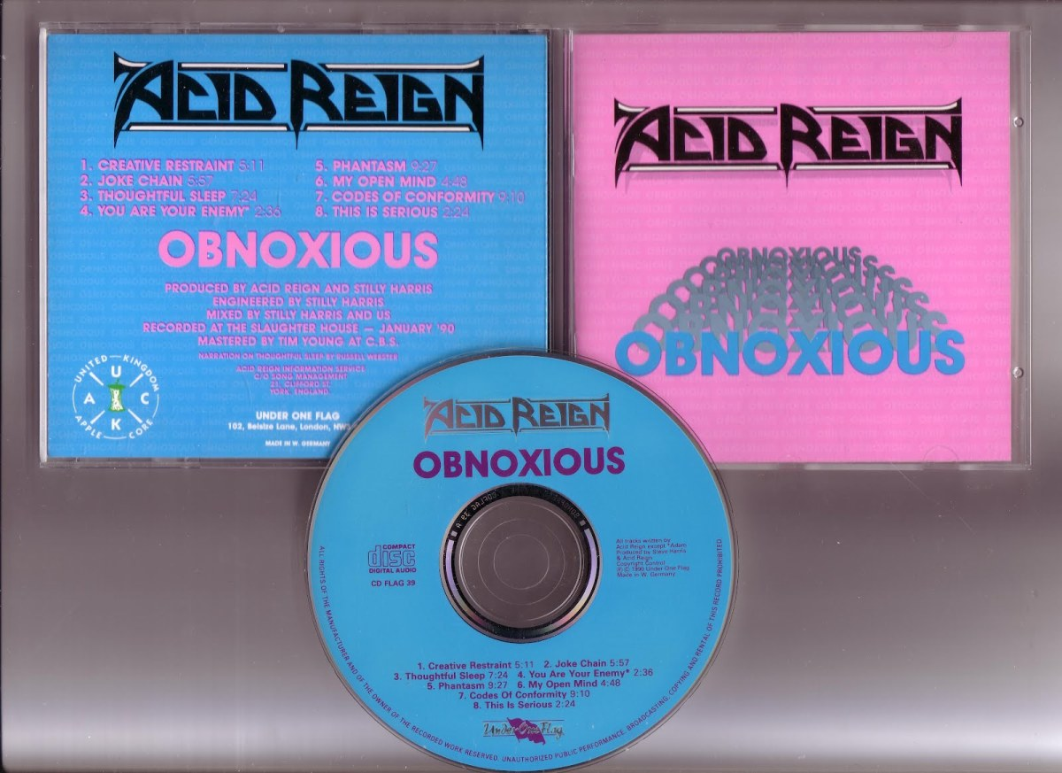 A photo of the album covers and CD Obnoxious (released in 1990).