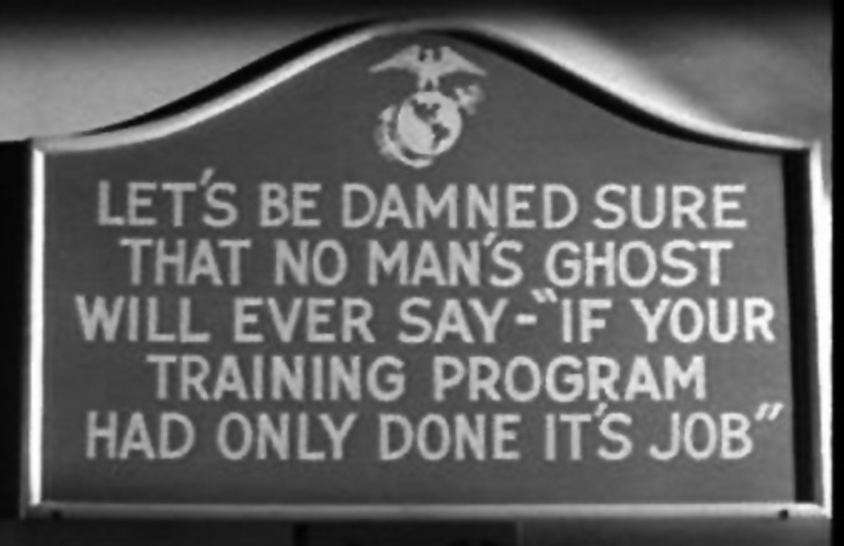 World War II era sign posted at the Marine Corps Recruit Depot, Parris Island.