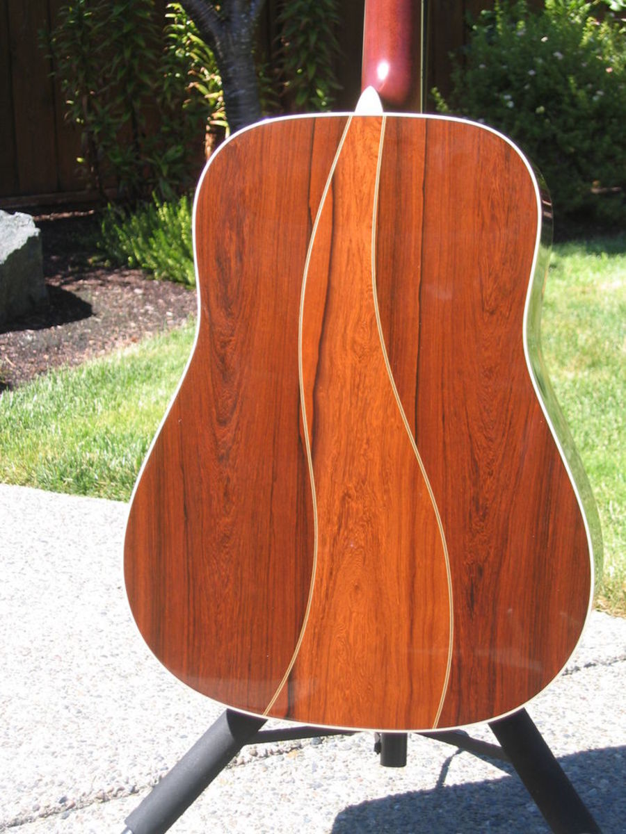 It would hard to be fancier than this Martin Custom Shop dreadnought. But the Madagascar rosewood is the new holy grail in tonewoods.