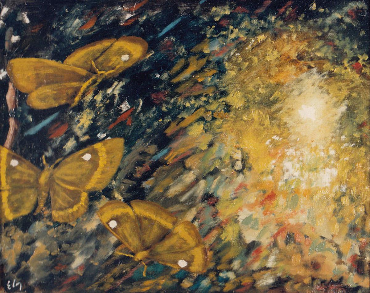 Pintura de Eugenio Cruz Vargas (1923-2014). Técnica: óleo sobre tela. Tema: abstracción objetiva/expresiva de mariposas atraídas por la luz. Medidas: 50 x 60 cm. Autora de la fotografía: Liliana Fuentes, quien, por el consentimiento acreditado del pr