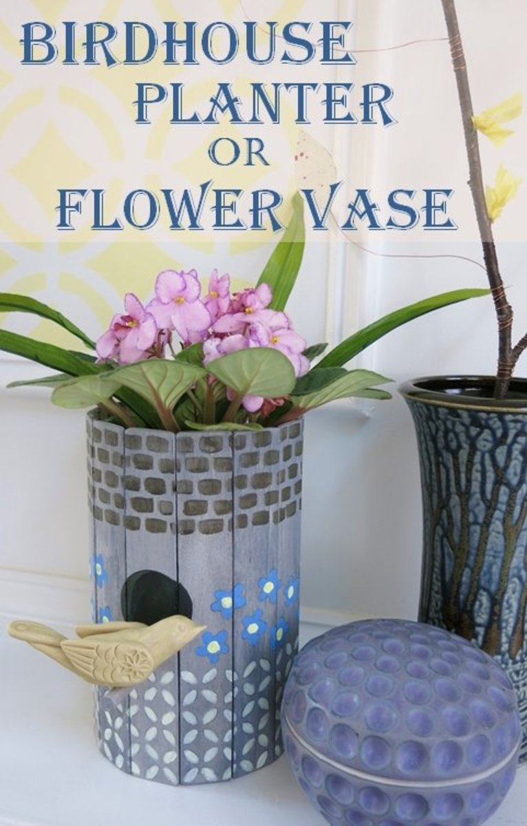 DIY Craft Tutorial:  Recycle a Birdhouse into a Planter or Flower Vase