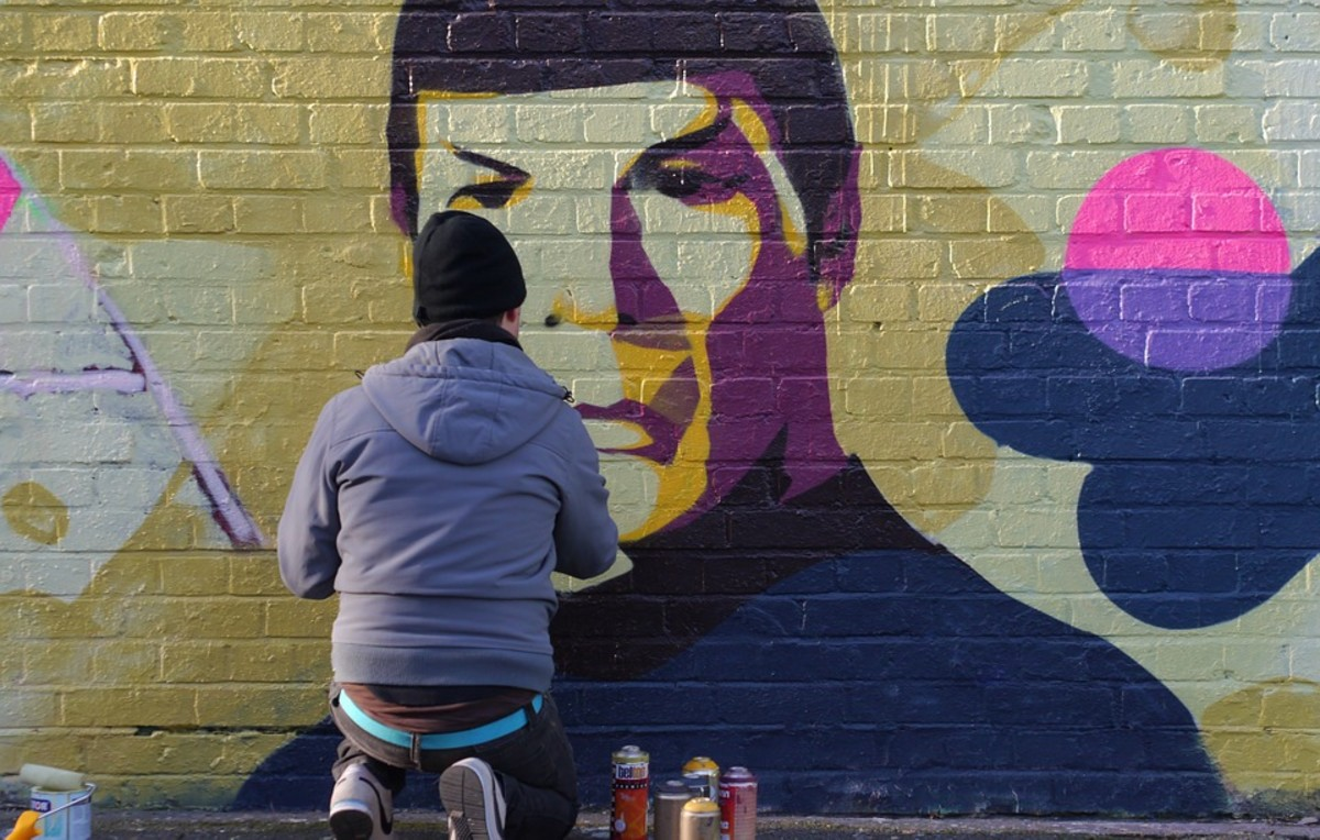 Mr. Spock mural in an urban area.
