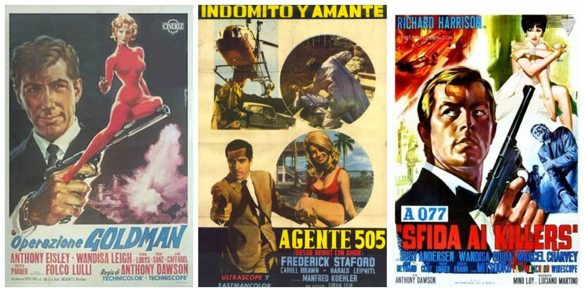 "L-R: posters for ""Operazione Goldman"" aka ""Lightning Bolt,"" ""Agent 505: Death Trap Beirut,"" and ""Killers Are Challenged"" aka ""Mission Casablanca"""