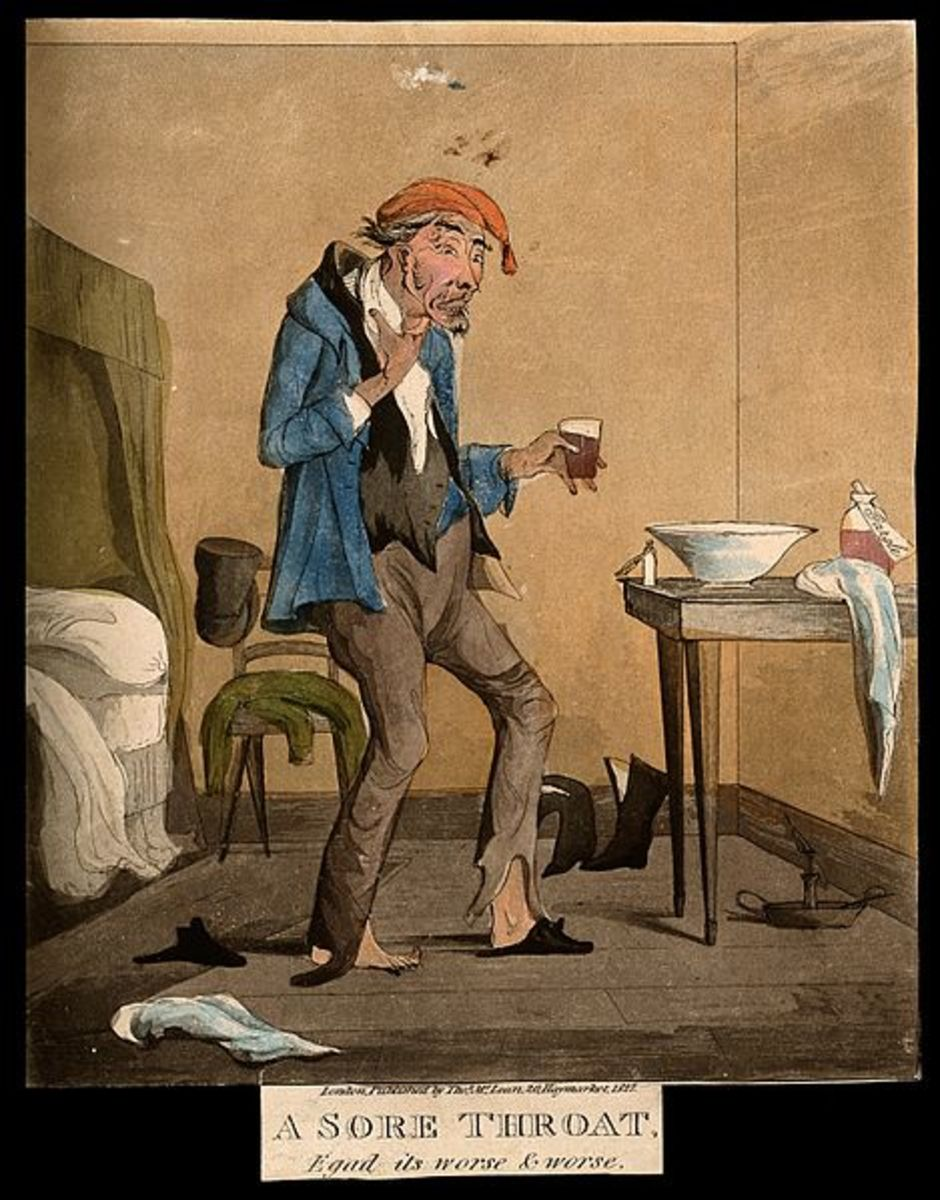 An ill man taking a gargling mixture for a sore throat. Coloured aquatint, 1827.