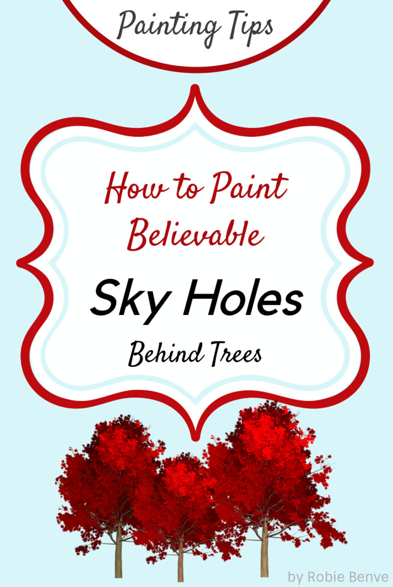 How to paint areas where sky and tree meet, making them look natural and believable.  Learn how foliage and thin branches change the color of the sky. How to make sky holes believable carefully varying placement, shapes, color, value and temperature.