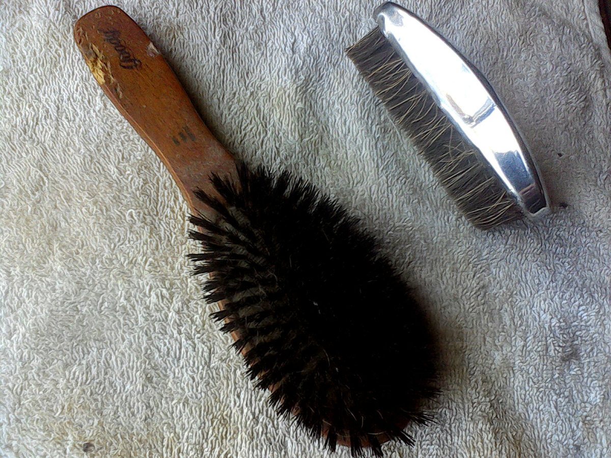 A couple of examples of the styles of brushes for short-haired animals. Both styles shown here are made with stiff, natural hairs. Choose the one that feels most comfortable for you.